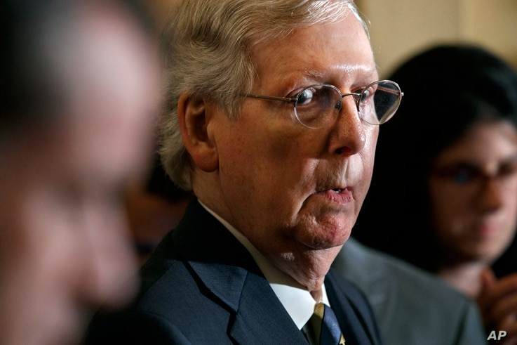 Senate Majority Leader Mitch McConnell of Ky. attends a news conference with members of the Senate Republican Leadership, Tuesday Sept. 24, 2019, after their policy luncheon on Capitol Hill in Washington. (AP Photo/Jacquelyn Martin)