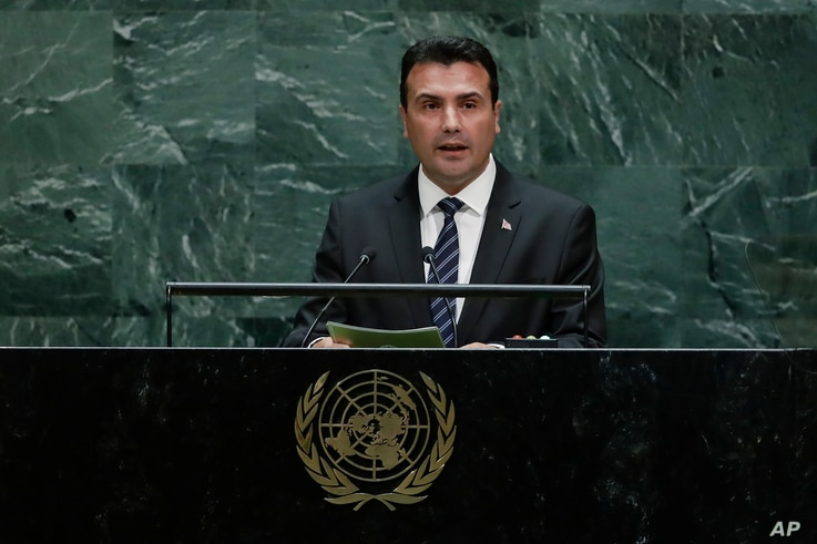 North Macedonia's Prime Minister Zoran Zaev addresses the 74th session of the United Nations General Assembly, Thursday, Sept. 26, 2019, at the United Nations headquarters. (AP Photo/Frank Franklin II)