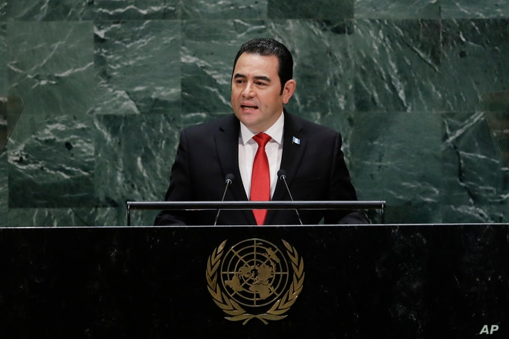 Guatemala's President Jimmy Morales addresses the 74th session of the United Nations General Assembly, Wednesday, Sept. 25, 2019, at the United Nations headquarters. (AP Photo/Frank Franklin II)