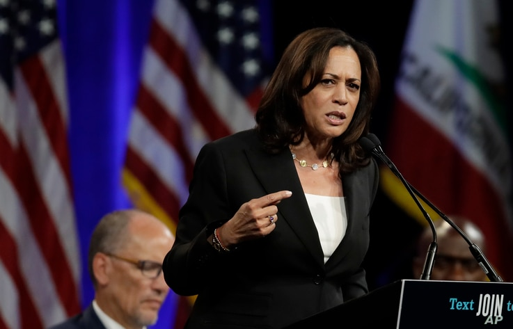 Democratic presidential candidate Sen. Kamala Harris, D-Calif., gestures while speaking at the Democratic National Committee's summer meeting Friday, Aug. 23, 2019, in San Francisco. More than a dozen Democratic presidential hopefuls are making…