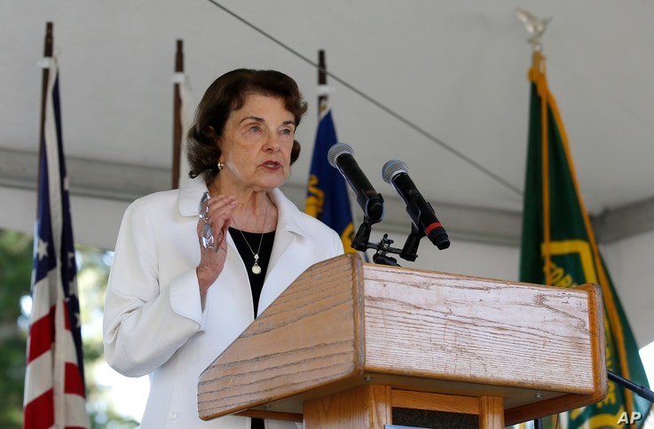 United States Sen. Dianne Feinstein, D-Calif., makes the opening remarks at the 23rd Annual Lake Tahoe Summit, Tuesday, at South Lake Tahoe, Calif., Tuesday, Aug. 20, 2019. The summit is a gathering of federal, state and local leaders to discuss the…