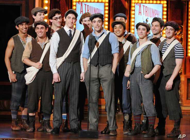 """The cast of """"Newsies The Musical"""" appear on stage at the 67th Annual Tony Awards, on Sunday, June 9, 2013 in New York.  (Photo…"""