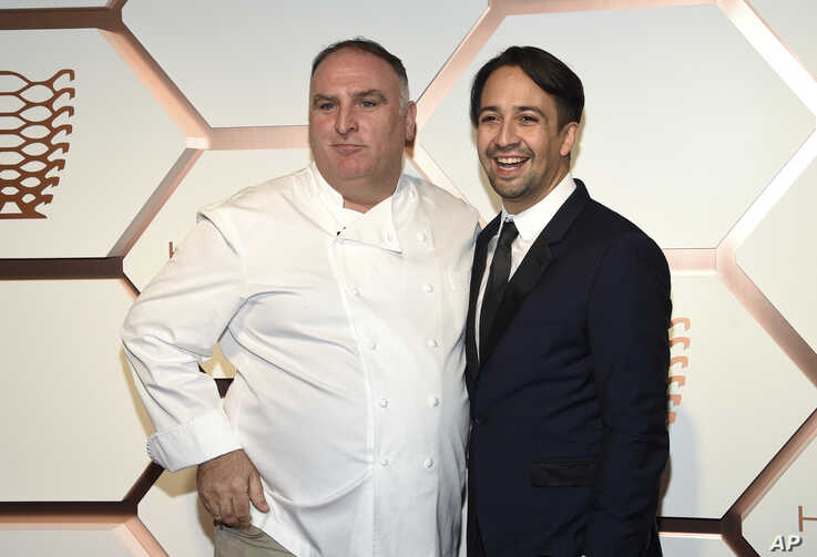 Chef Jose Andres, left, and actor Lin-Manuel Miranda attend the grand opening of the Shops & Restaurants at Hudson Yards on…