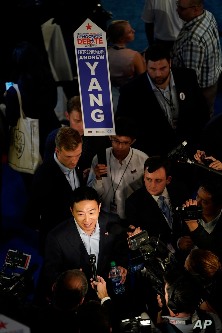Democratic presidential candidate entrepreneur Andrew Yang is interviewed Thursday, Sept. 12, 2019, after a Democratic…