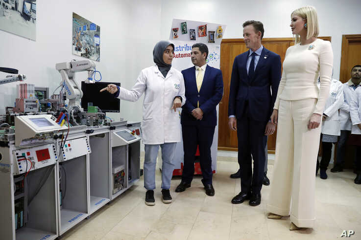 Ivanka Trump, the daughter and senior adviser to President Donald Trump, tours a Moroccan aviation facility, the Specialized…