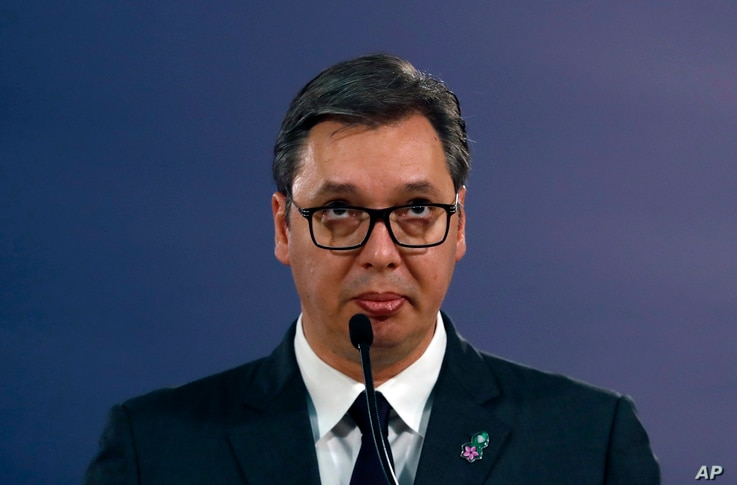 Serbian President Aleksandar Vucic speaks during a news conference after a meeting with Matthew Palmer, Deputy Assistant…