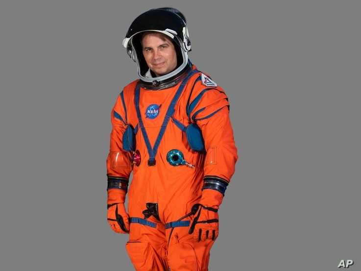 Dustin Gohmert, Orion Crew Survival Systems Project Manager at Johnson Space Center, wearing prototype of  NASA Orion Crew…