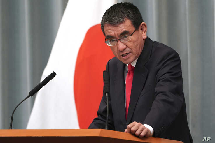 Newly appointed Defense Minister Taro Kono speaks during a press conference at the prime minister's official residence in Tokyo…