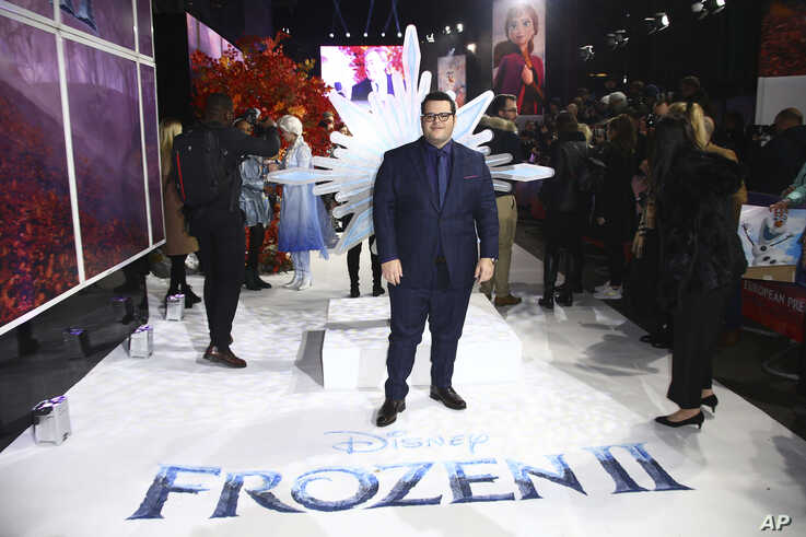 Voice actors Josh Gad poses for photographers upon arrival at the European premiere of 'Frozen 2', in central London, Sunday,…