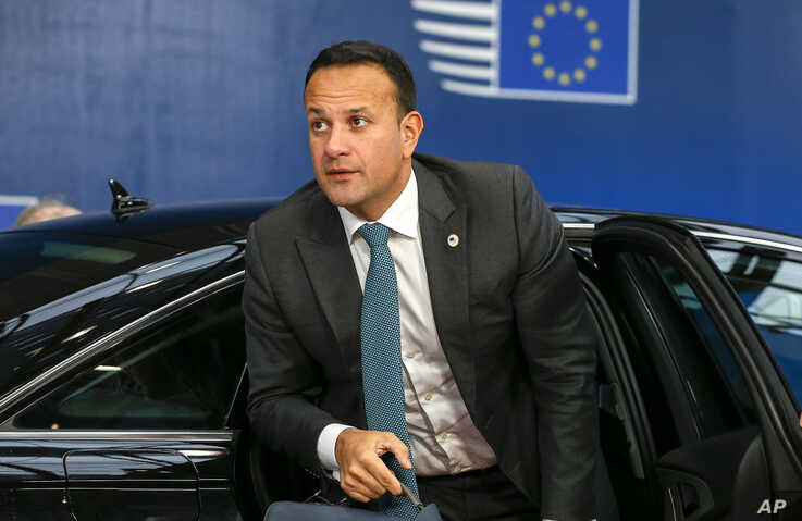 Irish Prime Minister Leo Varadkar arrives for an EU summit in Brussels, Thursday, Oct. 17, 2019. Britain and the European Union…
