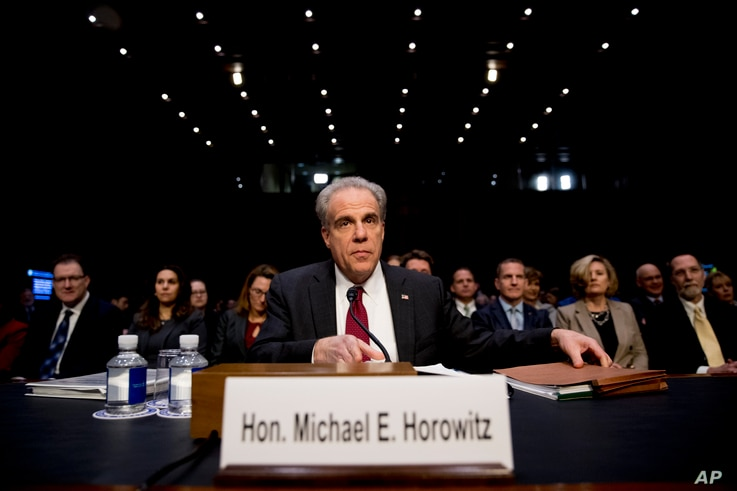 Department of Justice Inspector General Michael Horowitz arrives for a Senate Judiciary Committee hearing on the Inspector…