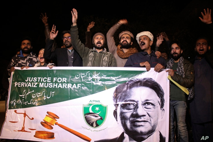 Supporters of former Pakistani military ruler Gen. Pervez Musharraf protest