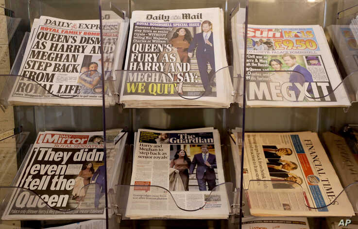 Newspapers are seen for sale in London, Thursday, Jan. 9, 2020. In a statement Prince Harry and his wife, Meghan, said they are…