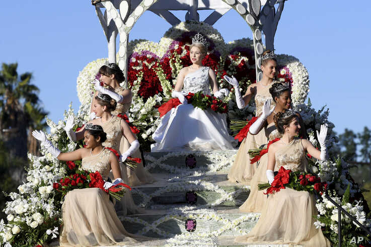 The Royal Court, clockwise from lower left, Princesses Rukan Saif, Mia Thorsen, Emilie Risha, Rose Queen Camille Kennedy,…