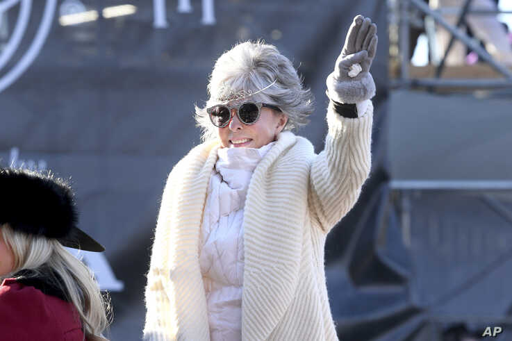 Grand Marshal Rita Moreno waves to the crowd during the 131st Rose Parade in Pasadena, Calif., Wednesday, Jan. 1, 2020. (AP…