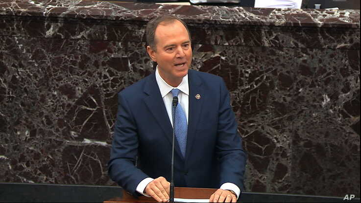 In this image from video, impeachment manager Rep. Adam Schiff, D-Calif., speaks in favor of a amendment offered by Senate…
