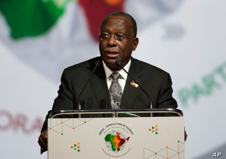 Angola's Vice-President Manuel Domingos Vicente addresses a session during the India Africa Forum Summit in New Delhi, India,…