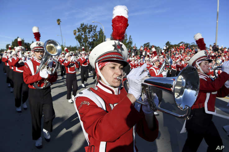 The Wisconsin marching band performs at the 131st Rose Parade in Pasadena, Calif., Wednesday, Jan. 1, 2020. (AP Photo/Michael…
