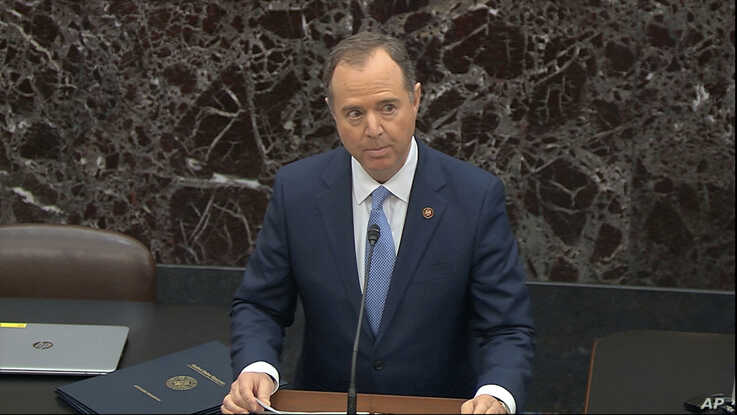 In this image from video, House impeachment manager House Intelligence Committee Chairman Adam Schiff, D-Calif., speaks during…