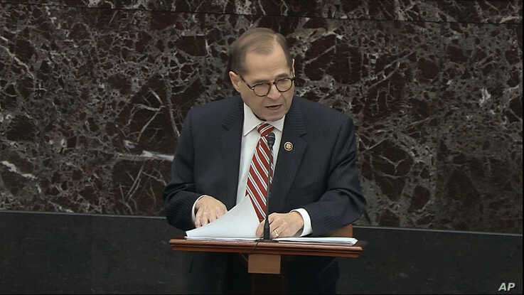 In this image from video, House impeachment manager Rep. Jerrold Nadler, D-N.Y., speaks during the impeachment trial against…