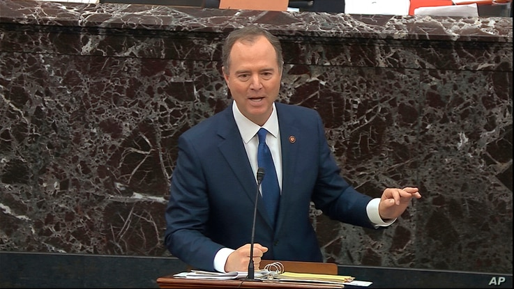 In this image from video, House impeachment manager Rep. Adam Schiff, D-Calif., answers a question during the impeachment trial…