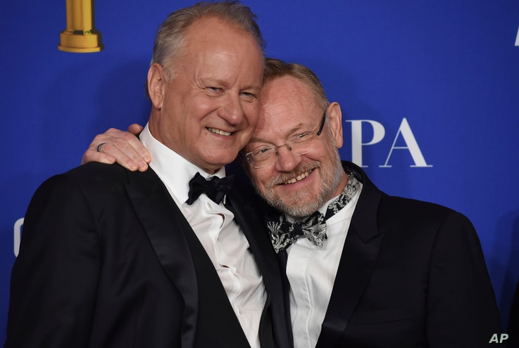 "Stellan Skarsgard, left, and Jared Harris, from the cast of ""Chernobyl,"" winners of the award for best television limited…"