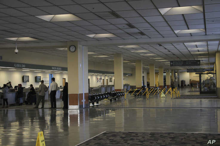A nearly empty lobby at the North Terminal of the Ted Stevens Anchorage International Airport in Anchorage, Alaska, is shown…