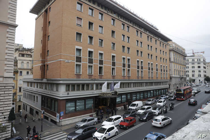 A general view of the Palatino Grand Hotel, where two Chinese tourists visiting Rome tested positive Thursday for a new virus,…