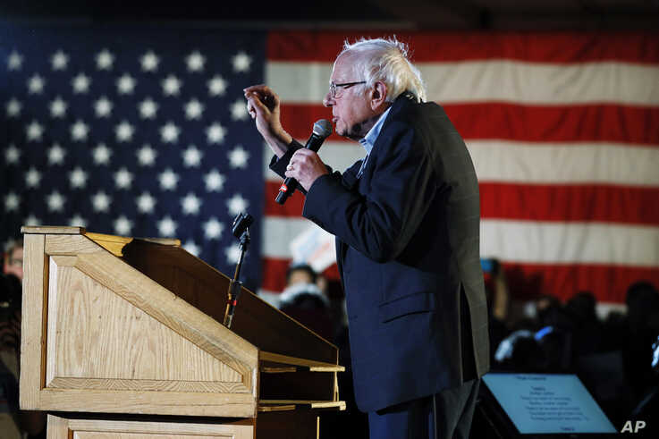 Democratic presidential candidate Sen. Bernie Sanders, I-Vt., speaks during his Bernie's Big New Year's Bash, Tuesday, Dec. 31,…