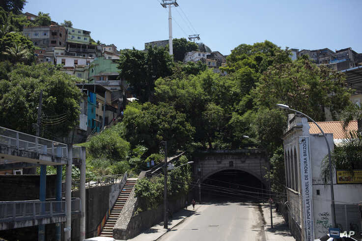 This Jan.6, 2020 photo, shows an area where trees and plants were gardened by Ale Roque in Rio's first favela Morro da…