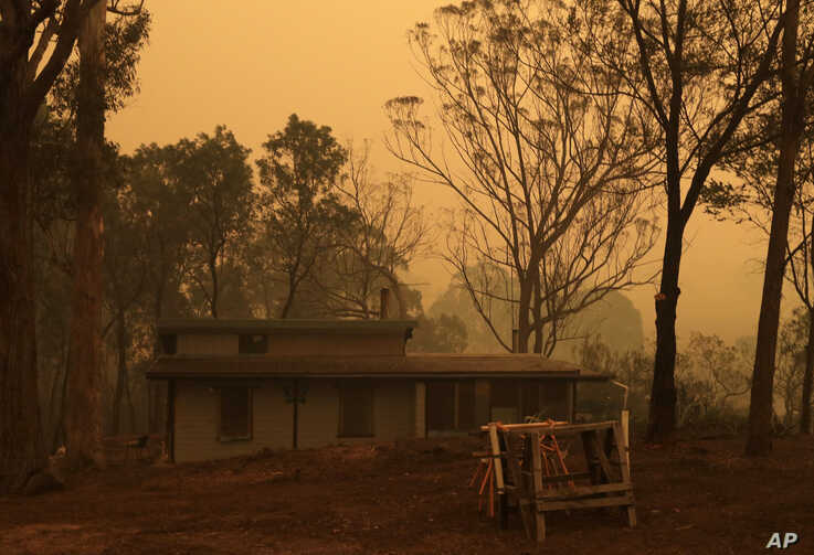 A mud brick house owned by Evan Harris where he is preparing to minimize fire impact at Burragate, Australia, Friday, Jan. 10,…