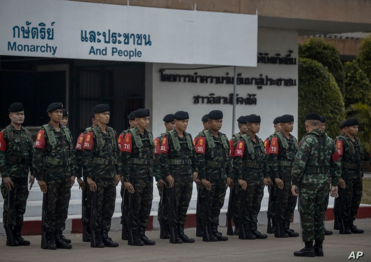 Thai soldiers at Surathampitak Military Camp in Nakhon Ratchasima, Thailand, Monday, Feb. 10, 2020. It's still unclear how a…