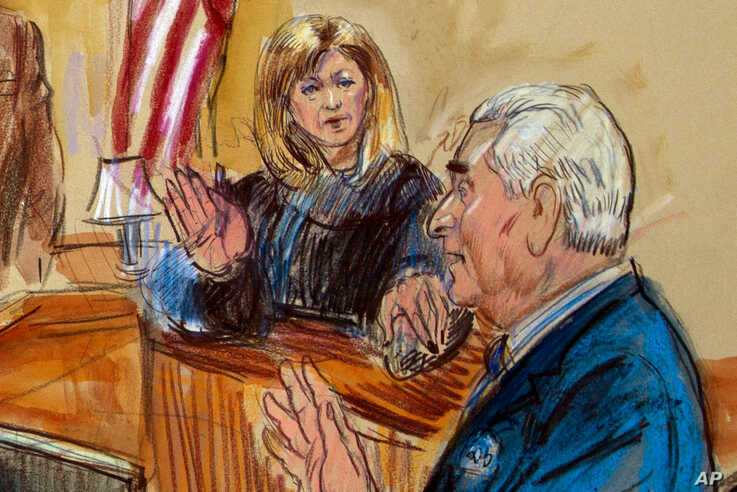 This courtroom sketch shows former campaign adviser for President Donald Trump, Roger Stone talking from the witness stand as…