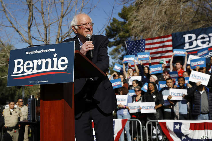Democratic presidential candidate Sen. Bernie Sanders, I-Vt., speaks during a campaign event at the University of Nevada, Las…