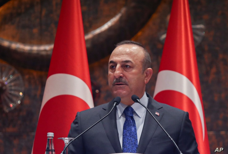 Turkish Foreign Minister Mevlut Cavusoglu speaks during a meeting in Ankara, Feb. 4, 2020.