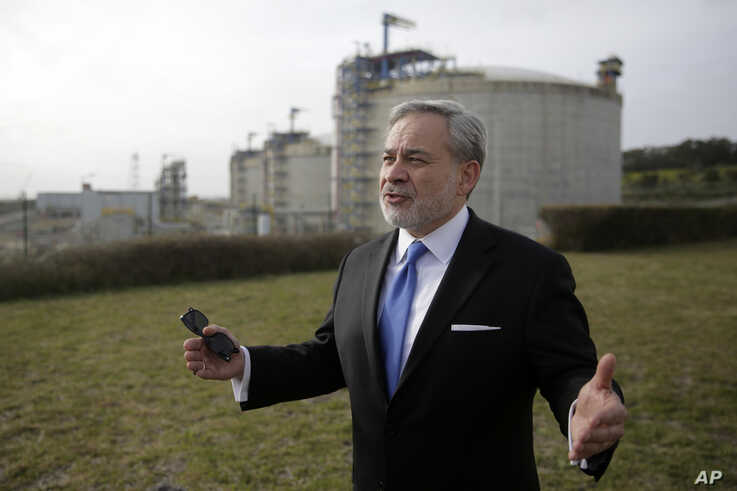 United States Secretary of Energy Dan Brouillette gestures during an interview at the LNG terminal of the deepwater port of…