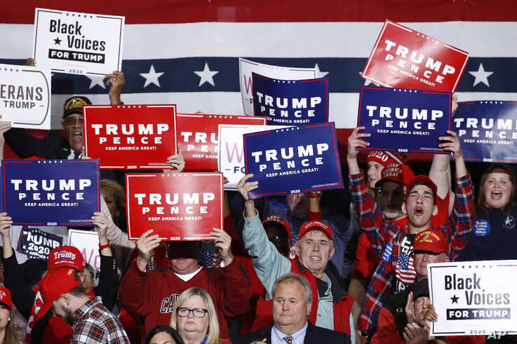 Supporters cheer as President Donald Trump speaks during a campaign rally, Friday, Feb. 28, 2020, in North Charleston, S.C. (AP…