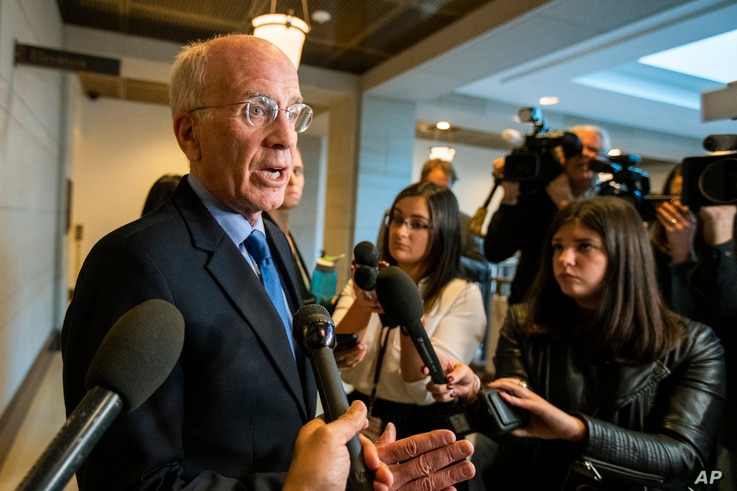 Rep. Peter Welch, D-Vt., speaks to members of the media on Capitol Hill in Washington, Tuesday, Dec. 3, 2019. The House…