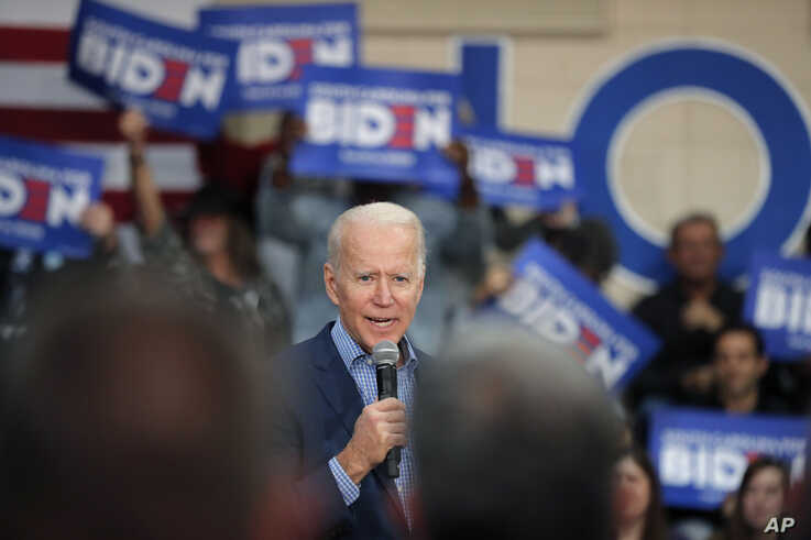 Democratic presidential candidate former Vice President Joe Biden speaks at a campaign event in Conway, S.C., Thursday, Feb. 27…