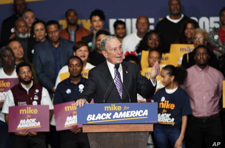 "Democratic presidential candidate and former New York City Mayor Michael Bloomberg speaks during his campaign launch of ""Mike…"