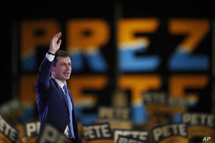 Democratic presidential candidate Pete Buttigieg speaks at a campaign rally late Saturday, Feb. 22, 2020, in Denver. (AP Photo…