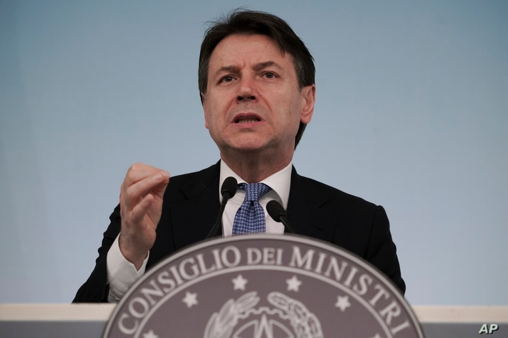 Italian Premier Giuseppe Conte speaks during a press conference on economic measures to help facing consequences of the virus…