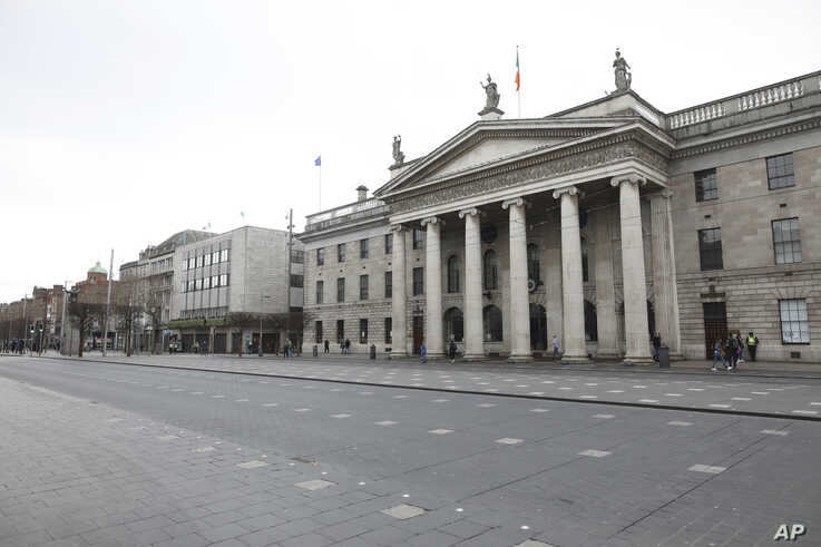 A deserted O'Connell street outside the GPO in Dublin city centre, Tuesday March 17, 2020. The St Patrick's Day parades across…