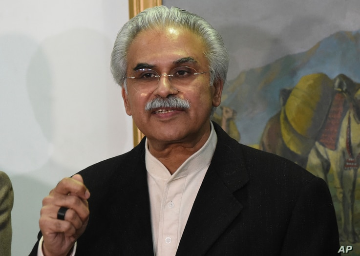 Dr. Zafar Mirza, Special Assistant to the Prime Minister on National Health, speaks to reporters in Quetta, Pakistan, Wednesday…