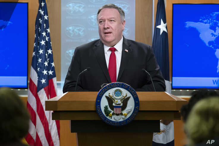 Secretary of State Mike Pompeo speaks on the release of the 2019 Human Rights Report at the Department of State in Washington,…