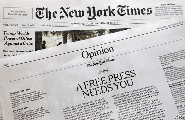 """An editorial titled """"A Free Press Needs You"""" is published in The New York Times, Thursday, Aug. 16, 2018, in New York…"""