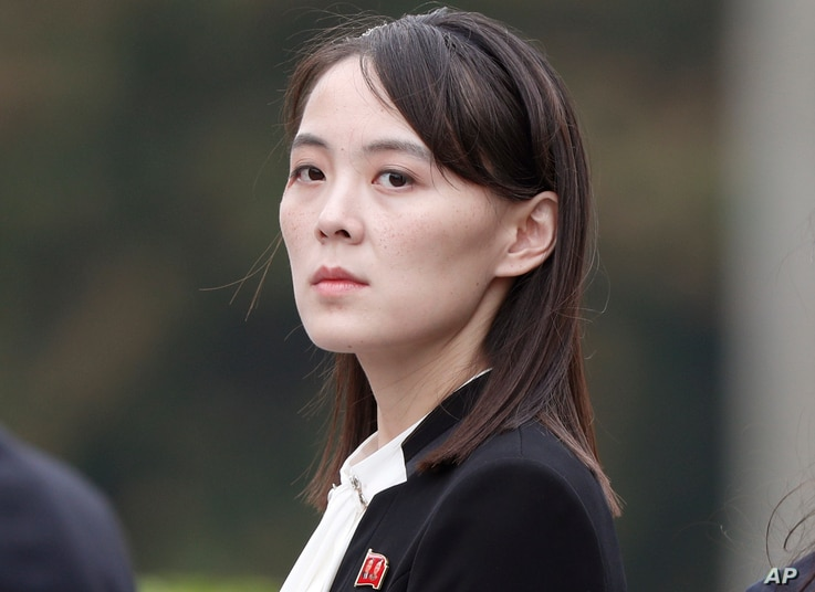 FILE - In this March 2, 2019, file photo, Kim Yo Jong, sister of North Korea's leader Kim Jong Un attends a wreath-laying…