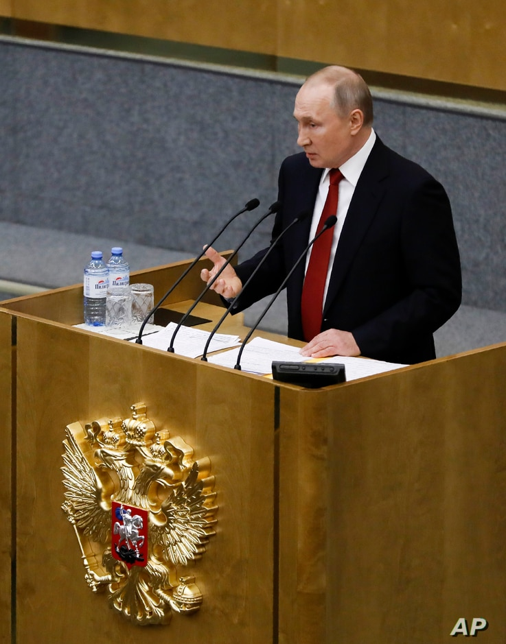 Russian President Vladimir Putin speaks a session prior to voting for constitutional amendments at the State Duma, the Lower…