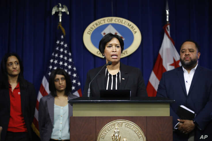 District of Columbia Mayor Muriel Bowser speaks at a news conference to announce the first presumptive positive case of the…