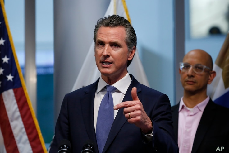 California Gov. Gavin Newsom updates the state's response to the coronavirus, at the Governor's Office of Emergency Services in…